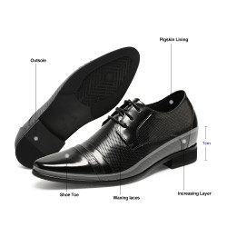 Elevator shoes black perforated 7 cm