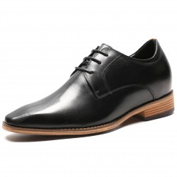 Black elevator shoes with brown sole