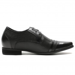 black perforated leather elevator shoes
