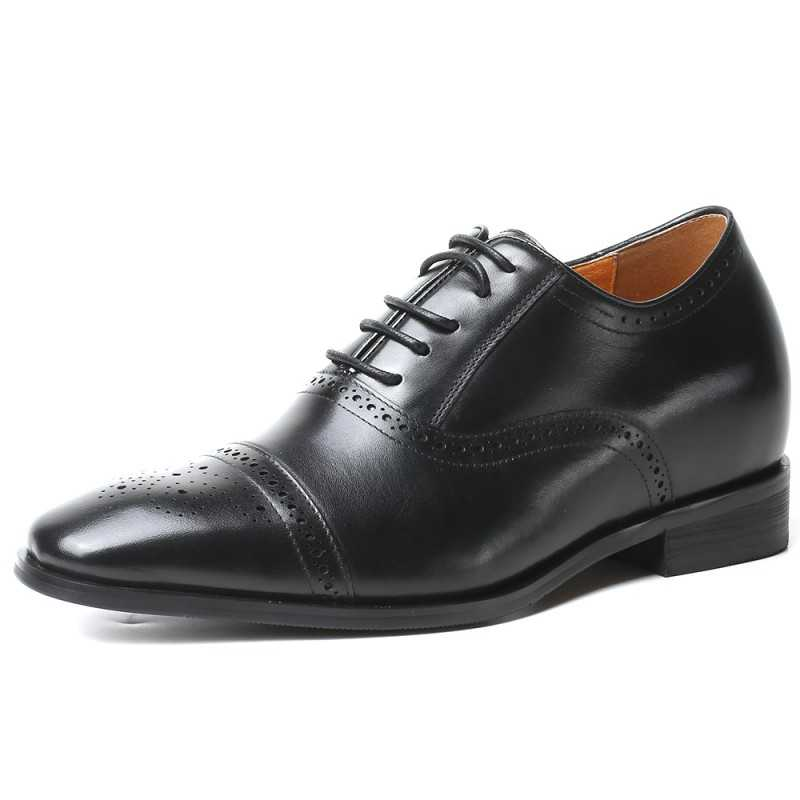 Elegant black height increasing shoes