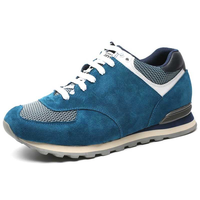 Light Blue suede elevator sport shoes
