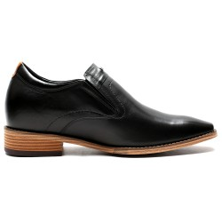 Slip on black leather elevator shoes Fabio