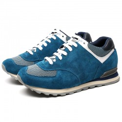 Light Blue suede elevator sport shoes +2,76 inches