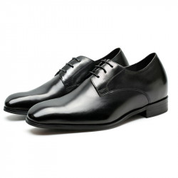 Plain black leather elevator shoes Basilio +2,76 inches