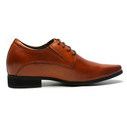 Natural leather brown elevator shoes