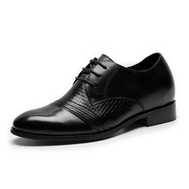 Black braided leather elevator shoes